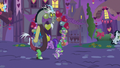 Spike and Discord in Ponyville at night S8E10.png