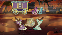 Starlight and Trixie pass by mailponies S8E19