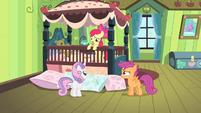 Sweetie and Scootaloo looking at Apple Bloom S4E17