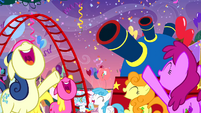 The ponies cheering S4E12