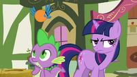 Twilight and Spike with the Bluejay Orange S3E3