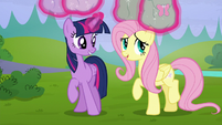 Twilight levitates her and Fluttershy's saddlebags S5E23
