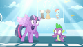 A bright light shines above Twilight and Spike S5E26.png