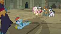 Ahuizotl looming over Rainbow Dash S9E21