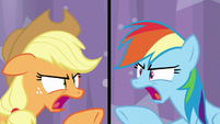 "Applejack and Rainbow ""don't copy me!"" S9E16"