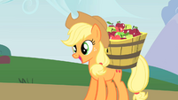 Applejack is taking apples to her new apple cellar S1E15