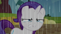 Filly Rarity scowling and crying in the rain S6E14