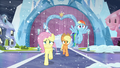 Fluttershy and Applejack running; Rainbow flying S6E2.png