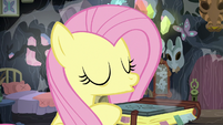 Fluttershy blows dust off of Meadowbrook's journal S7E20