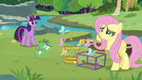 Fluttershy guides birds and butterflies into cages S9E26