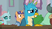 Gallus smiling nervously at Rockhoof S8E21