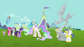 Main cast and Discord's statue wide shot S03E10.png