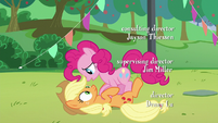 Pinkie's fourth --how--; Pinkie puts Applejack down S5E24