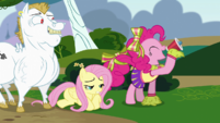 Pinkie Pie cheering with Fluttershy on the floor S4E10
