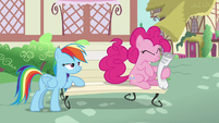 Pinkie Pie hops onto a bench S7E18