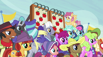 Ponies spectating as the score is tied S6E18