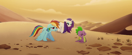 Rainbow, Rarity, and Spike crossing the desert MLPTM