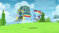 Rainbow Dash flying after Scootaloo S7E7