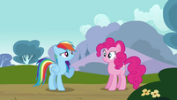 Rainbow flies in front of Pinkie S3E3