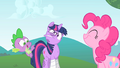 Spike asks Pinkie if her tail is still twitching S1E15.png