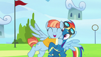 Windy Whistles hugging Rainbow Dash S7E7