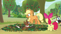 Winona falls into Apple Bloom's pit trap S9E10