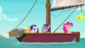 Applejack fishes a treasure chest out of the sea S6E22.png