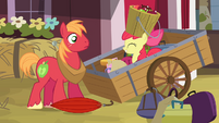 Big McIntosh sees Apple Bloom emerge from the wagon S4E09