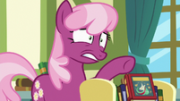 Cheerilee nervously points toward Flurry Heart S7E3