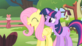 Fluttershy and Twilight look at Opal clawing Rarity S1E17.png