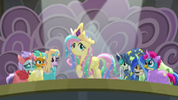 Fluttershy appears as Princess Celestia S8E7
