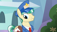 Mail Pony looking at his mailbag S8E8