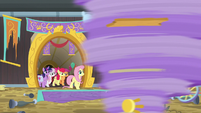 Main ponies and CMC enter the stadium S9E22