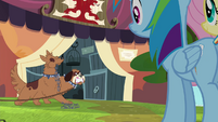 Rainbow and Fluttershy approach ancient beast stall S4E22