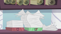 Rarity's messy inbox and outbox of orders S5E14
