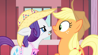 Rarity and Applejack look at each other S4E13