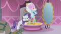 Rarity telling Rainbow Dash to stand still S1E10.png