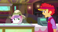 Theater cashier looking at Sweetie Belle SS11