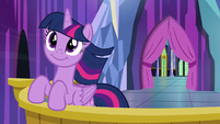 Twilight Sparkle on the castle balcony S6E1