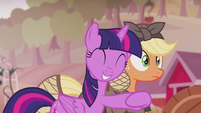 Twilight suddenly hugging Applejack S5E25