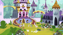 Wide view of Canterlot Castle courtyard S9E13