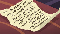 Yona's essay written on a scroll S8E21