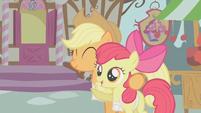 Applejack hugs Apple Bloom S1E12