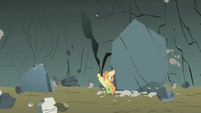 Applejack nearly flattened by a boulder S1E07