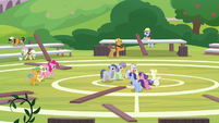 Fluttershy, Pinkie, and Snails approach players S9E15