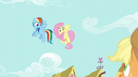 Fluttershy and Rainbow looking down at Applejack S6E11
