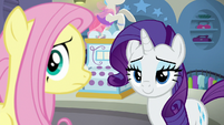 Fluttershy and Rarity hear a customer enter S8E4