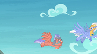 Hippogriff chases Sky Beak through the sky S8E6