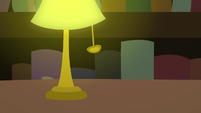 Lamp turns on in the dark bookstore