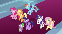 Mane Six and Spike gasp in shock S9E1